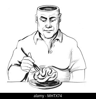 Man eating his brain. Ink black and white illustration - Stock Photo