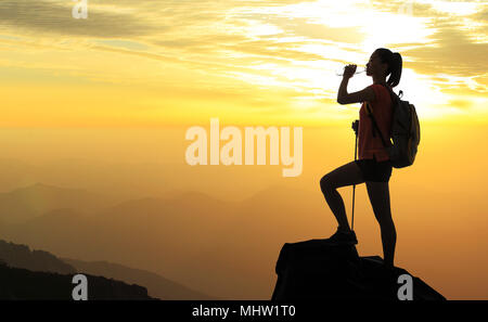 Young woman standing in the top of the mountain - Stock Photo