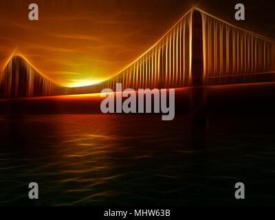 Golden Gate Bridge Painterly Illustration. Vivid Sunset - Stock Photo