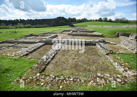 North Leigh Roman Villa is set in countryside on the banks of the River Evenlode in Oxfordshire. The Villa is considered one of the largest villas in  - Stock Photo