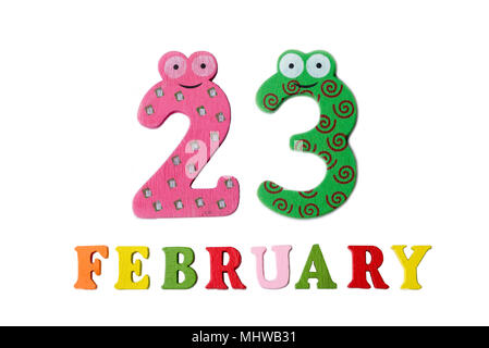 February 23 on white background, numbers and letters. Calendar. - Stock Photo
