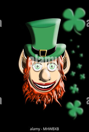 St Patrick's Day. Leprechaun With Green Hat and Four Leaf Clover Isolated On Black  Background 3D illustration - Stock Photo
