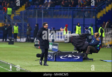 KHARKIV, UKRAINE - FEBRUARY 21, 2018: AS Roma manager Eusebio Di Francesco in action during UEFA Champions League Round of 16 game against Shakhtar Do - Stock Photo
