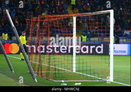 KHARKIV, UKRAINE - FEBRUARY 21, 2018: Empty goal net of the OSK Metalist stadium seen during the UEFA Champions League Round of 16 game Shakhtar v Rom - Stock Photo