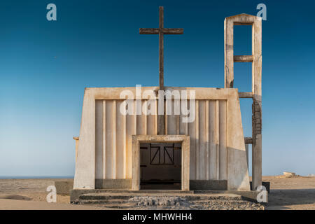 Church in the province of Namibe. Angola. Africa, Church of Portuguese colonial time. - Stock Photo