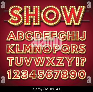 Light Bulb Alphabet with gold frame and shadow on red backgrond. Glowing retro vector font collection with shiny bright lights. ABC and number design for casino, night club or cinema. Layered Separated Characters. - Stock Photo