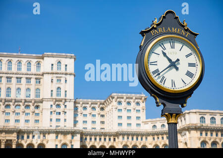 Building of Romanian parliament in Bucharest is the second largest building in the world - Stock Photo