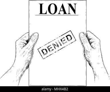 Vector Artistic Illustration or Drawing of Hands Holding Denied Loan Application Document - Stock Photo