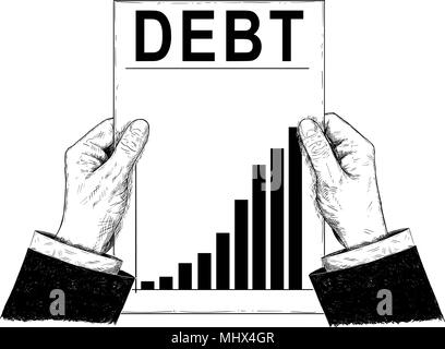 Vector Artistic Illustration or Drawing of Businessman Hands Holding Document With Raising Debt Chart or Graph - Stock Photo