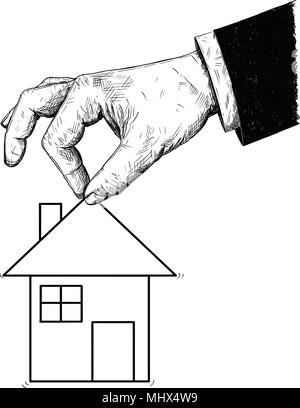 Vector Artistic Illustration or Drawing of Businessman Hand Offering House - Stock Photo
