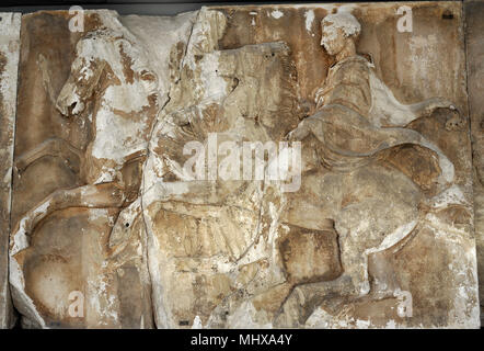 West frieze of Parthenon, Acropolis of Athens. Greece. W VII, 13-14. Panatheniac procession. Two Horseman. Figure 14, wearing a panther skin over his chito, components of Thracian dress. Supervised by Phidias. 5th century BC. Acropolis Museum. Athens. Greece. - Stock Photo
