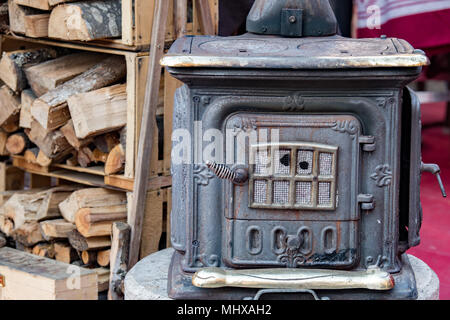 Old wood stove close up - Stock Photo