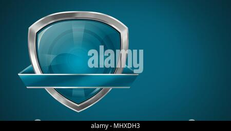 Blank shield icon on blue background - Stock Photo