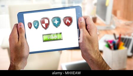 Antivirus security protection shield on tablet - Stock Photo