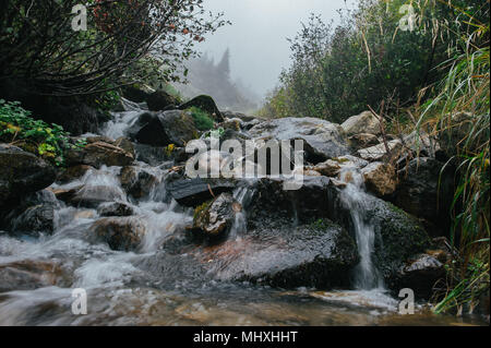 Beautiful fairy mountain waterfall in a fairy forest among rocks at sunset - Stock Photo