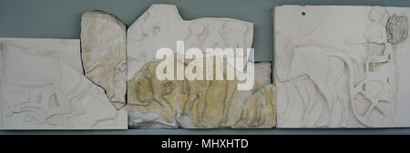 North frieze of Parthenon, Acropolis of Athens. Blocks N XXVI and N XXVII. 5th century BC. Original and replica blocks . Acropolis Museum. Athens. Greece. Original blocks are exposed in the British Museum in London. - Stock Photo