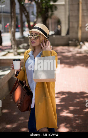 Woman shopping, Cape Town, South Africa - Stock Photo