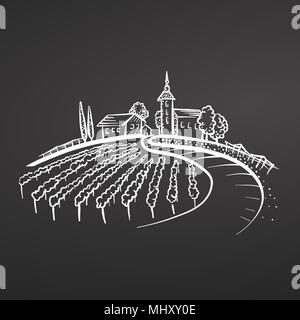 Winery chalk sketch on blackboard. Vector drawing for labeling, advertising and logo design. - Stock Photo