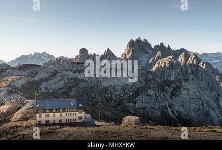 Building, Dolomites near Cortina d'Ampezzo, Veneto, Italy - Stock Photo