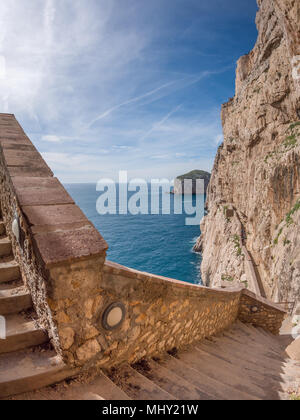The rocky peninsula of Capo Caccia, with high cliffs, is located near Alghero; in this area there are the famous Neptune's Caves - Stock Photo