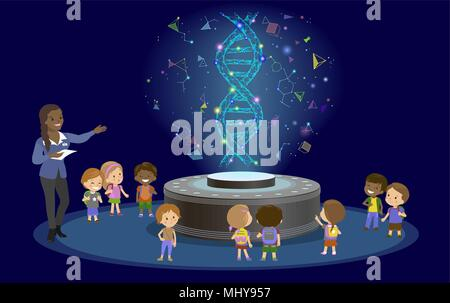 Innovation education elementary school learning technology - group of kids to molecule of DNA. hologram on biology lesson future museum center vector. - Stock Photo