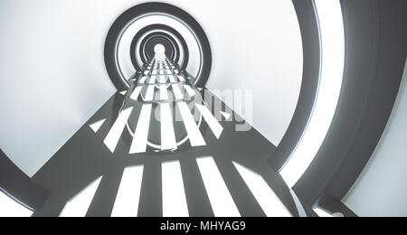 3D Rendering Of Realistic Circle Sci-Fi Corridor With Grid Mesh Lights On Floor - Stock Photo