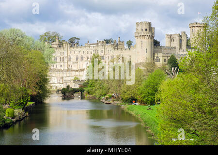 View to 12th century medieval Warwick castle seen along River Avon. Warwick, Warwickshire, West Midlands, England, UK, Britain - Stock Photo