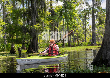 LaPlace, Louisiana - Maureen Sheahan participates in a kayak tour of Shell Bank Bayou near New Orleans. The tour was organized by Louisiana Lost Lands - Stock Photo