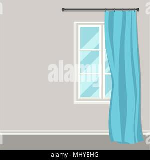 White plastic window with curtains on wall - Stock Photo