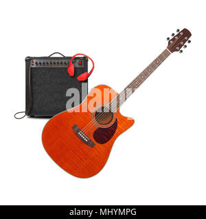 Music and sound - Musical instrument Orange acoustic guitar, amplifier headphone and cable front view isolated on a white background. Stock Photo