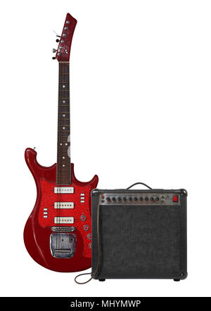 Music and sound - Musical instrument red guitar, amplifier and cable front view isolated on a white background. - Stock Photo