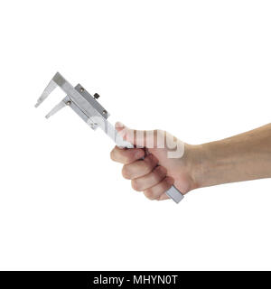 Objects tool hands action - Vernier Caliper Measuring Gauge worker hand isolated white background. - Stock Photo