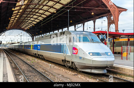 STRASBOURG, FRANCE - APRIL 14: SNCF TGV train at the main station on April 14, 2013 in Strasbourg, France. TGV trains carried more than 2 billion pass - Stock Photo