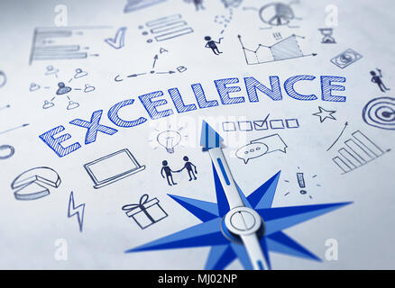 EXCELLENCE concept with blue compass. 3d Rendering. - Stock Photo