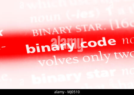 binary code word in a dictionary. binary code concept. - Stock Photo