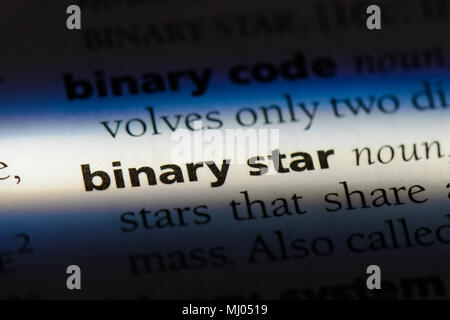 binary star word in a dictionary. binary star concept. - Stock Photo