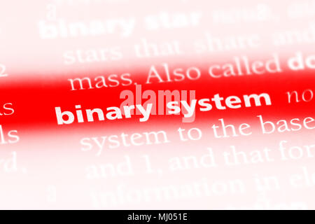 binary system word in a dictionary. binary system concept. - Stock Photo