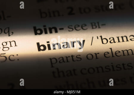 binary word in a dictionary. binary concept. - Stock Photo