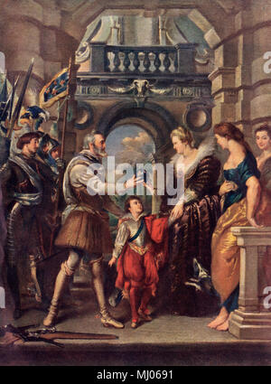 King Henri IV of France with Marie de' Medici. Printed color lithograph of a Rubens painting - Stock Photo