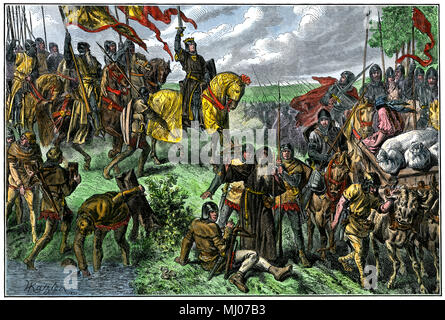 Rudolph I taking Austria, the first Hapsburg to be Holy Roman Emperor. Hand-colored woodcut - Stock Photo