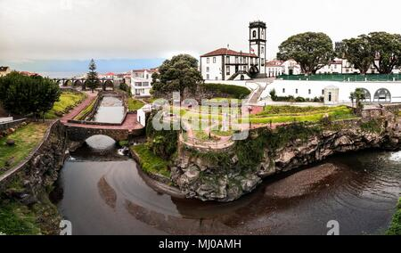 Panoramic cityscape view to Municipality and central square Of Ribeira Grande at Sao Miguel, Azores, Portugal - Stock Photo