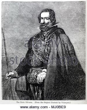 The Duke of Olivarez 1587 – 1645, was a Spanish royal favourite of Philip IV and minister, antique illustration fron circa 1880 - Stock Photo