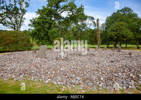 Southern circle with ring of 13 standing stones at Temple Wood (Half Moon Wood) prehistoric site  Kilmartin Glen near Kintyre, Argyll and Bute, Scotla - Stock Photo