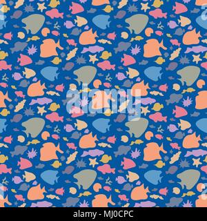 Vector colorful seamless fish pattern. Various bright sea fish silhouettes. Boundless background of underwater sea life. - Stock Photo