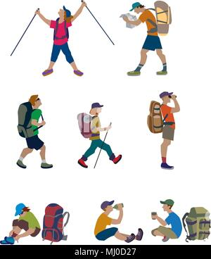 Cartoon travelers, backpackers, explorers hiking. Vector illustration of tourists with backpacks and rucksack. Character set in flat design. - Stock Photo