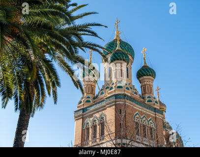 St Nicholas Russian Orthodox Cathedral, Nice - France - Stock Photo