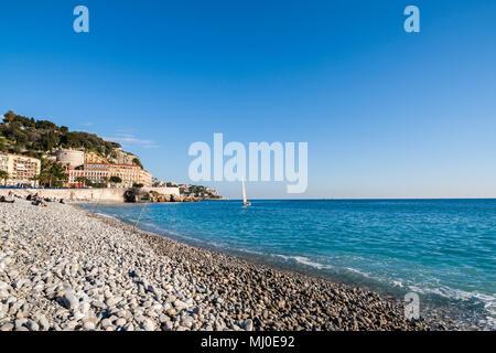 Mediterranean Sea in Nice - French Riviera - Stock Photo