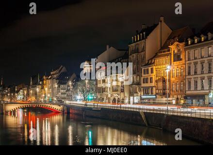 Ill river in Strasbourg - Alsace, France - Stock Photo