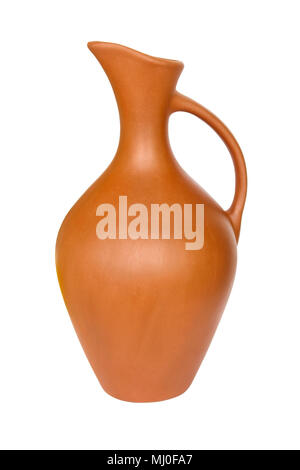 Clay jug with a narrow neck liquid isolated on white background - Stock Photo