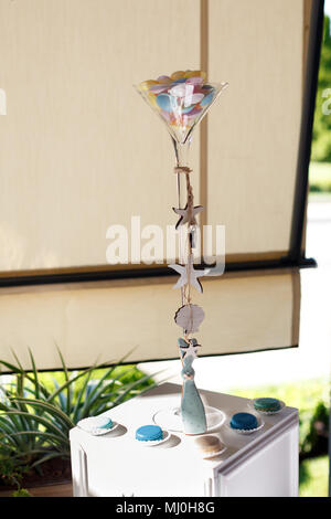 Cake birthday candles with letters in vintage style - Stock Photo
